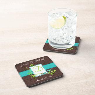 El práctico de costa verde de Brown de la turquesa Posavasos De Bebida