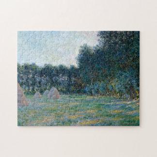 El prado con los Haystacks acerca a la bella arte Puzzle Con Fotos