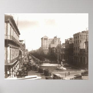 El Prado de La Habana 1920's Foto Antigua Poster