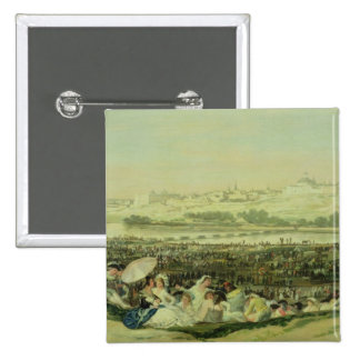 El prado en San Isidro, 1788 (aceite en lona) Pin Cuadrado