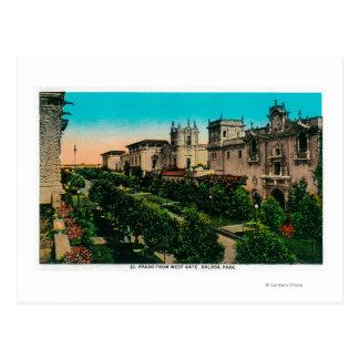 El Prado from West Gate, Balboa Park Postcard