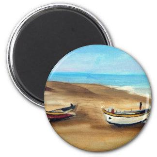 El Praia hace Meco - óleo - 20x40 Imán Redondo 5 Cm