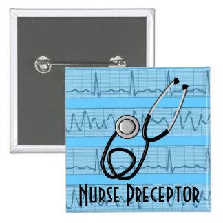 El Preceptor de la enfermera abotona el estetoscop Pin Cuadrado
