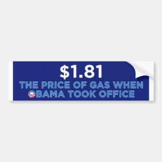 El precio del gas etiqueta de parachoque