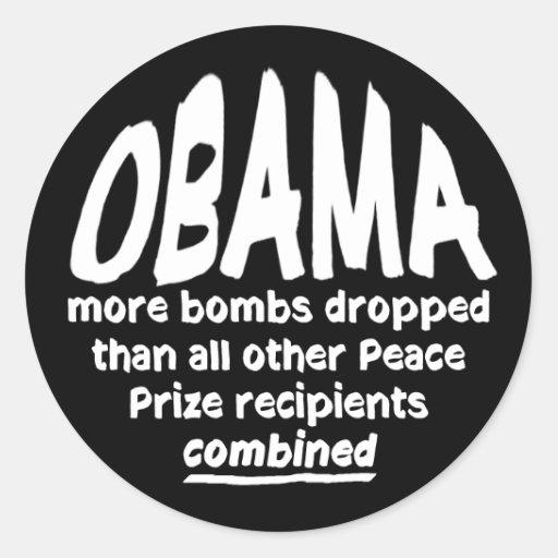 El premio de la paz de Obama bombardea al pegatina