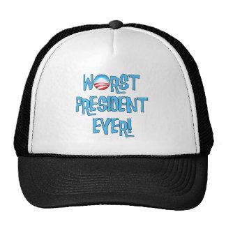 El presidente peor Ever de Obama Gorras