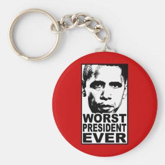 El presidente peor Ever de Obama Llavero Redondo Tipo Pin