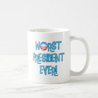 El presidente peor Ever de Obama Taza Básica Blanca