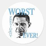 ¡El presidente peor Ever! Pegatina Redonda
