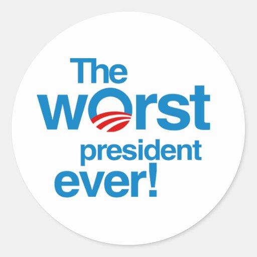 El presidente peor nunca etiqueta redonda
