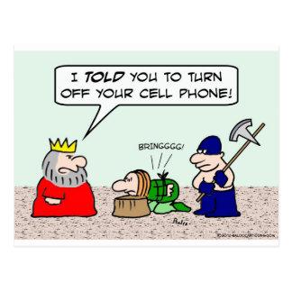 El preso condenado debe apagar el teléfono celular tarjeta postal