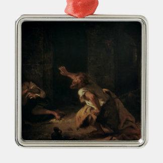 El preso de Chillon, 1834 Adorno Navideño Cuadrado De Metal