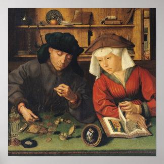 El prestamista de dinero y su esposa, 1514 póster