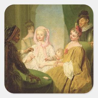 El prestidigitador, 1720-25 pegatina cuadrada