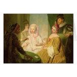El prestidigitador, 1720-25 tarjeta de felicitación