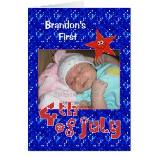 El primer 4to del bebé de la foto de julio tarjeta de felicitación