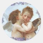 El PRIMER BESO, C.1873 Guillermo Bourgeau Pegatina Redonda