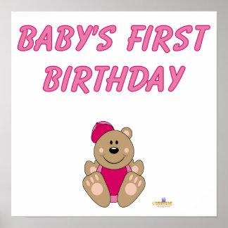 El primer Bir de Brown del oso del rosa del bebé l Posters