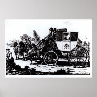 El primer coche de correo, 1784 póster
