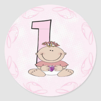 El primer cumpleaños del bebé pegatina redonda