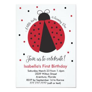 """El primer cumpleaños del chica rojo de la invitación 4.5"""" x 6.25"""""""