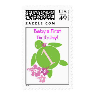El primer cumpleaños Honu del bebé y sello del hib