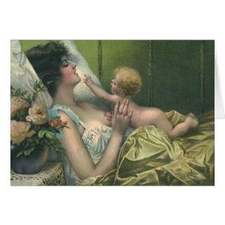 El primer día de madre tarjeta de felicitación