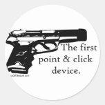 El primer dispositivo del punto y del tecleo pegatina redonda