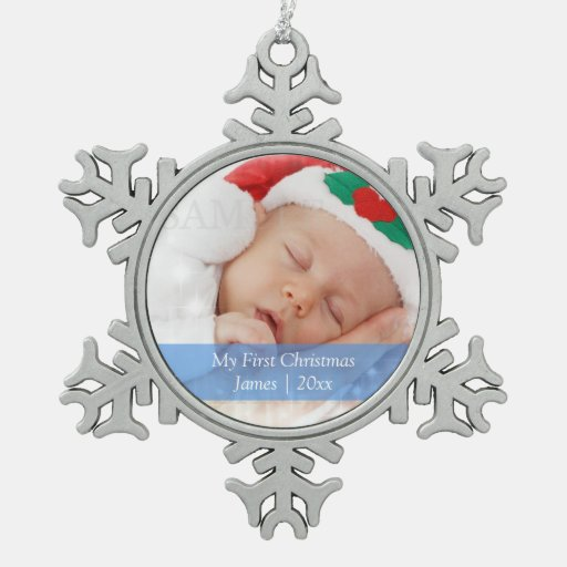 El primer navidad de Babys personalizó la Adorno De Peltre En Forma De Copo De Nieve