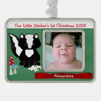 El primer navidad de la pequeña cosa maloliente adornos con foto