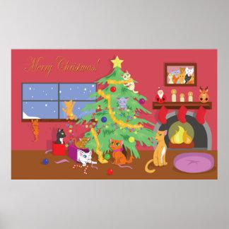 El primer navidad de los gatitos póster