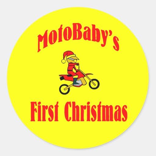 El primer navidad de MotoBaby Etiqueta Redonda