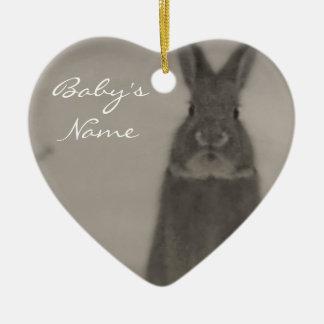 El primer navidad del bebé adorno navideño de cerámica en forma de corazón
