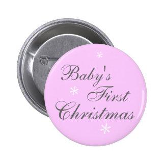 El primer navidad del bebé (chica) - botón