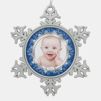 El primer navidad del bebé de plata azul de la fot