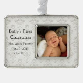 El primer navidad del bebé de plata del damasco