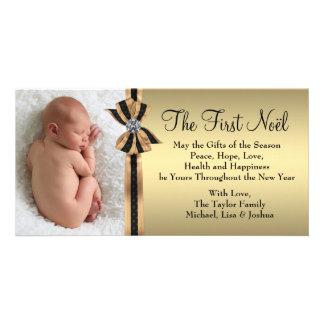 El primer navidad del bebé elegante del oro tarjetas personales