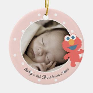 El primer navidad del bebé - Elmo Adorno Navideño Redondo De Cerámica