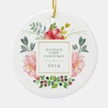 El primer navidad del bebé femenino bonito de las adorno navideño redondo de cerámica