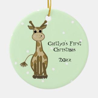 El primer navidad del bebé lindo de la jirafa adornos de navidad