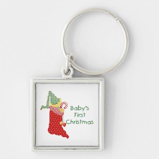El primer navidad del bebé llavero cuadrado plateado