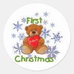 El primer navidad del bebé pegatina redonda
