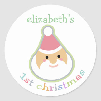 El primer navidad del bebé personalizado pegatina redonda