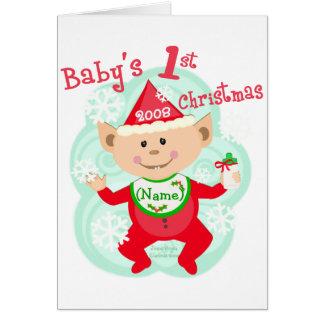 El primer navidad del bebé personalizado tarjeta de felicitación
