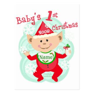 El primer navidad del bebé personalizado postal