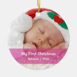 El primer navidad del bebé personalizó la plantill ornaments para arbol de navidad