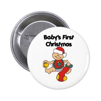 El primer navidad del bebé pin redondo 5 cm
