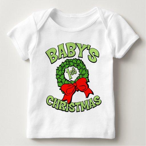 El primer navidad del bebé playera de bebé