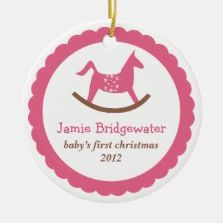 El primer navidad del juguete del bebé oscilante ornaments para arbol de navidad