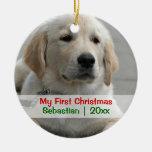El primer navidad del mascota personalizó la ornamento para arbol de navidad